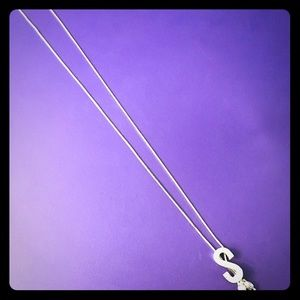 "New Sterling Silver ""S"" Initial Necklace"